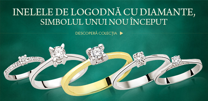 inele de logodna cu diamant la rosa